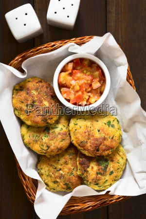 zucchini couscous and parsley fritter