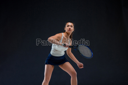 portrait of beautiful girl tennis player