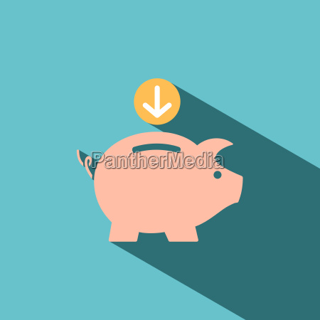 piggy bank icon on blue background