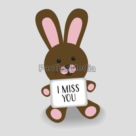 pink bunny with message i miss