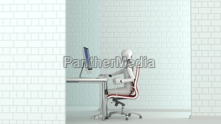 robot working at desk 3d rendering
