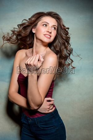 pretty girl with long hair smiling