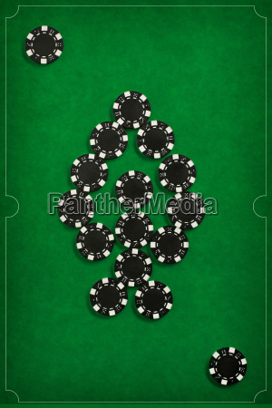 the, poker, chips, on, green, background - 20225275