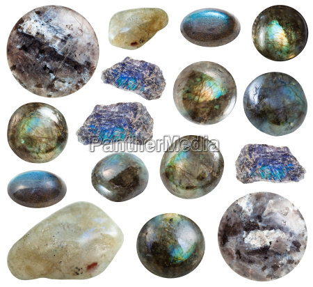 collection of tumbled and raw labradorite