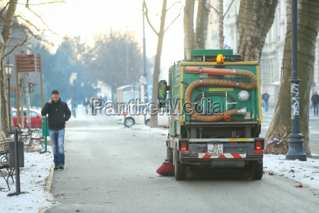 street cleaner in city