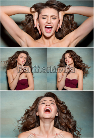 the young womans portrait with funny