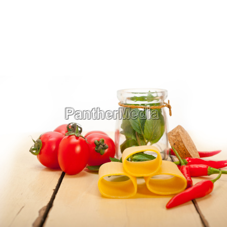 italian pasta paccheri with tomato mint