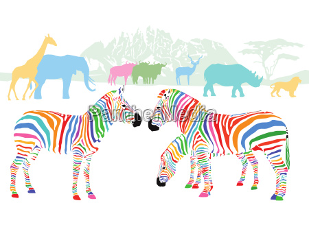 colourful wildlife in the savannah