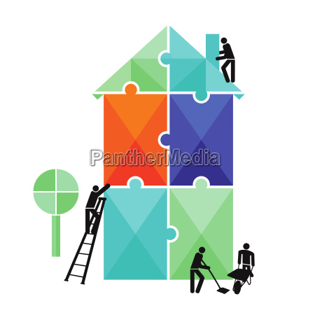 building construction puzzle isolated on white