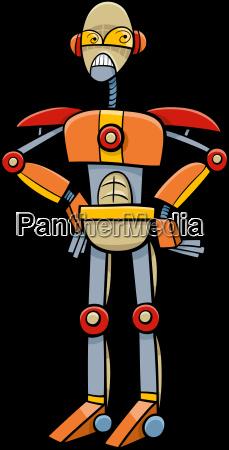 robot or cyborg cartoon illustration
