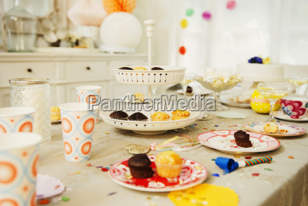 cupcakes and decorations on birthday party