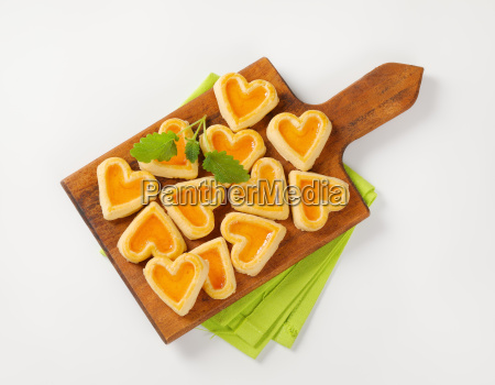 heart shaped cookies with jam