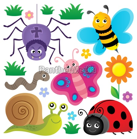 spring animals and insect theme set