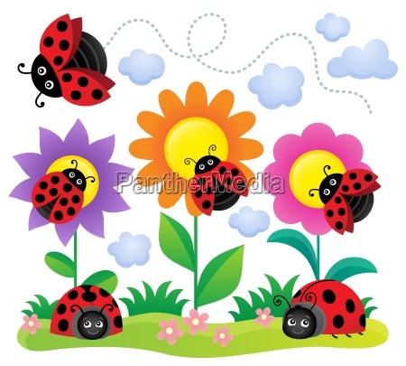 stylized ladybugs theme image 5