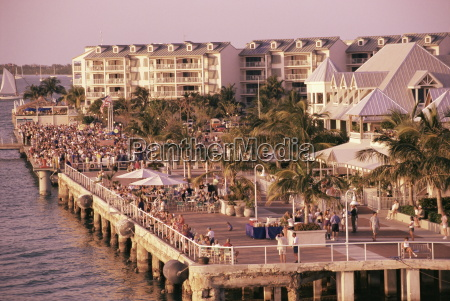 crowds viewing sunset key west florida