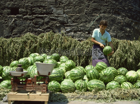 watermelons for sale on a street