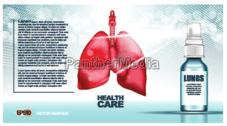 digital vector red lungs structure infographics