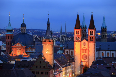 od town with cathedral wurzburg franconia