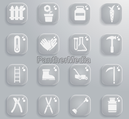 garden tools simply icons