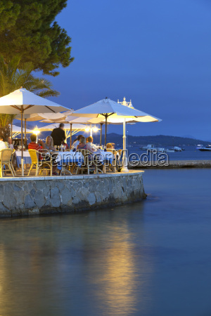 waterfront restaurant in the evening port
