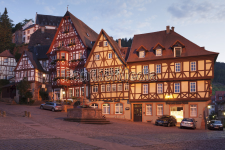market square with half timbered houses