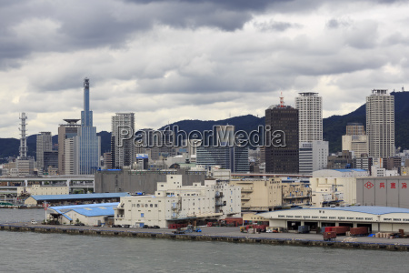 skyline kobe city honshu island japan