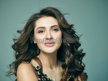 pretty girl with long hair posing