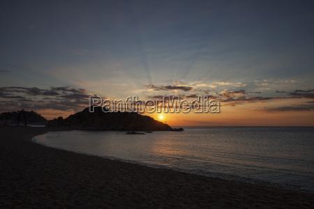 spain catalonia blanes sunrise at mediterranean