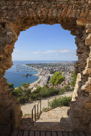 spain catalonia blanes town framed view