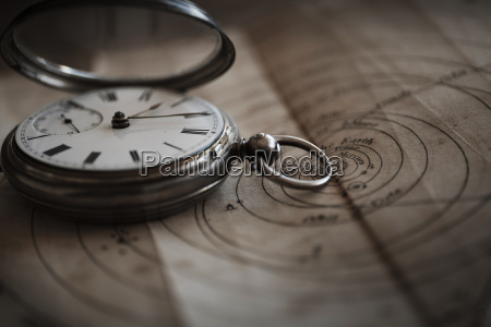 antique watch on diagram