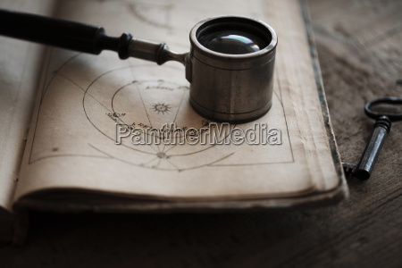antique magnifying glass and book