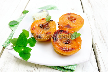 quince baked with ice cream in