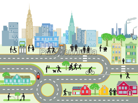 city with people and streetsillustration