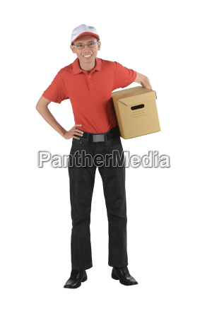 smiling delivery asian man holding a