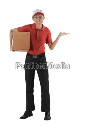 asian delivery man holding package showing