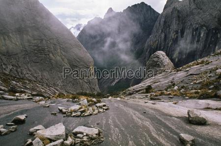 glacier worn slopes near summit of