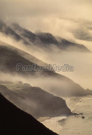 coastline with morning clouds big sur