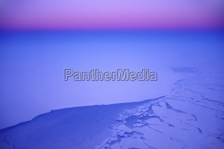 winter aerial view over greenland