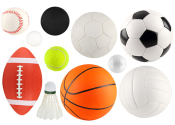 Fottball Baseball Volleyball Soccer Tennisball Tabletennisball ans Basketball lying on white ground